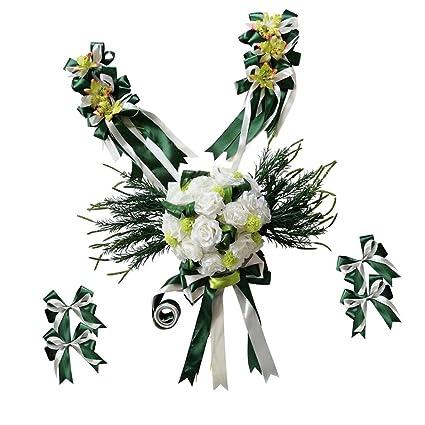 Phenovo Wedding Car Decorations Kit Set Limousine Silk Flower Ribbon