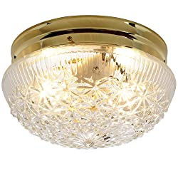 AF Lighting 671311 9-Inch D by 5-Inch H Diamond Cut Glass Ceiling Fixture, Polished Brass