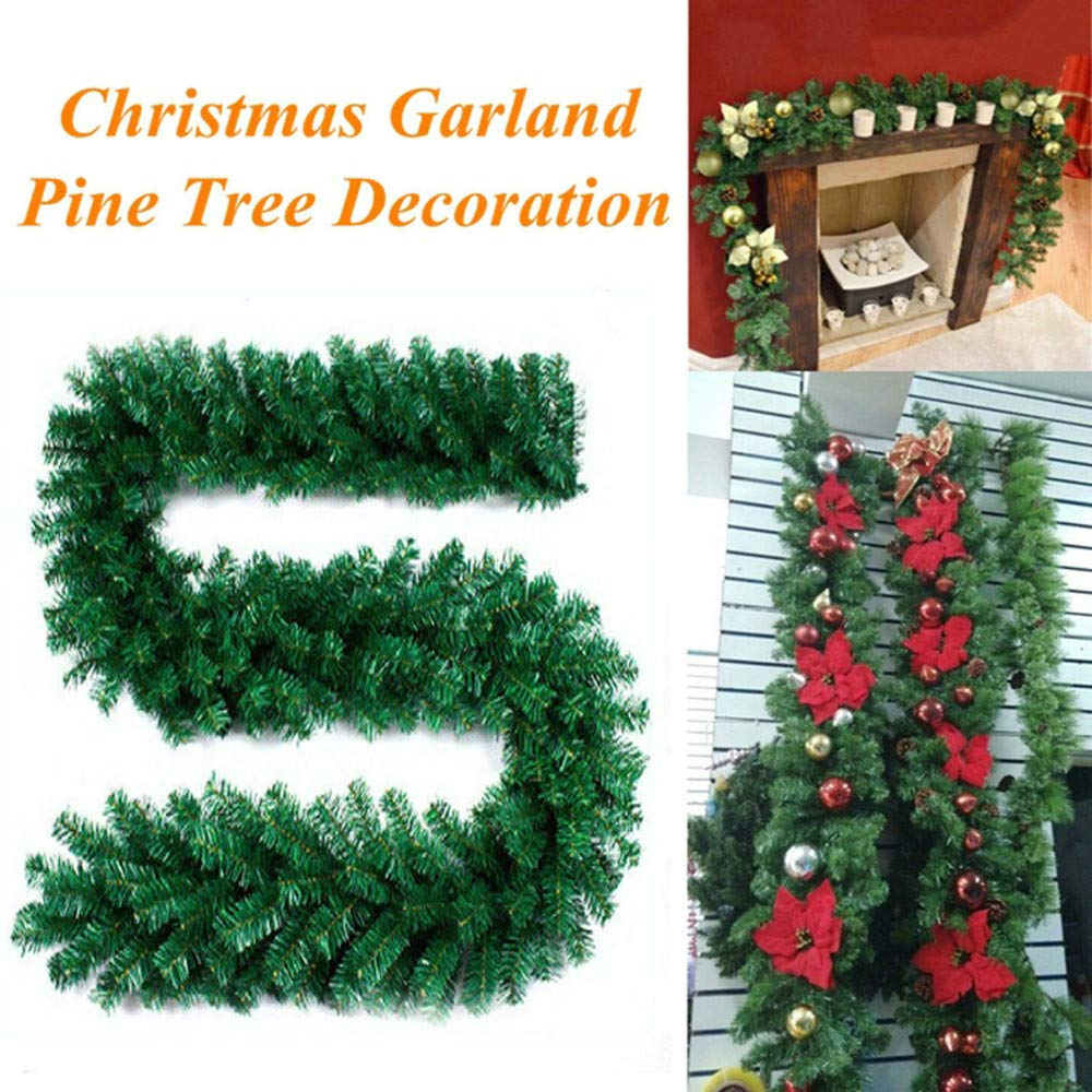 jufengliangyou Christmas Home Decor, 2.7M Christmas Decorations Ornaments Xmas Tree Garland Rattan Home Wall Pine (Green)