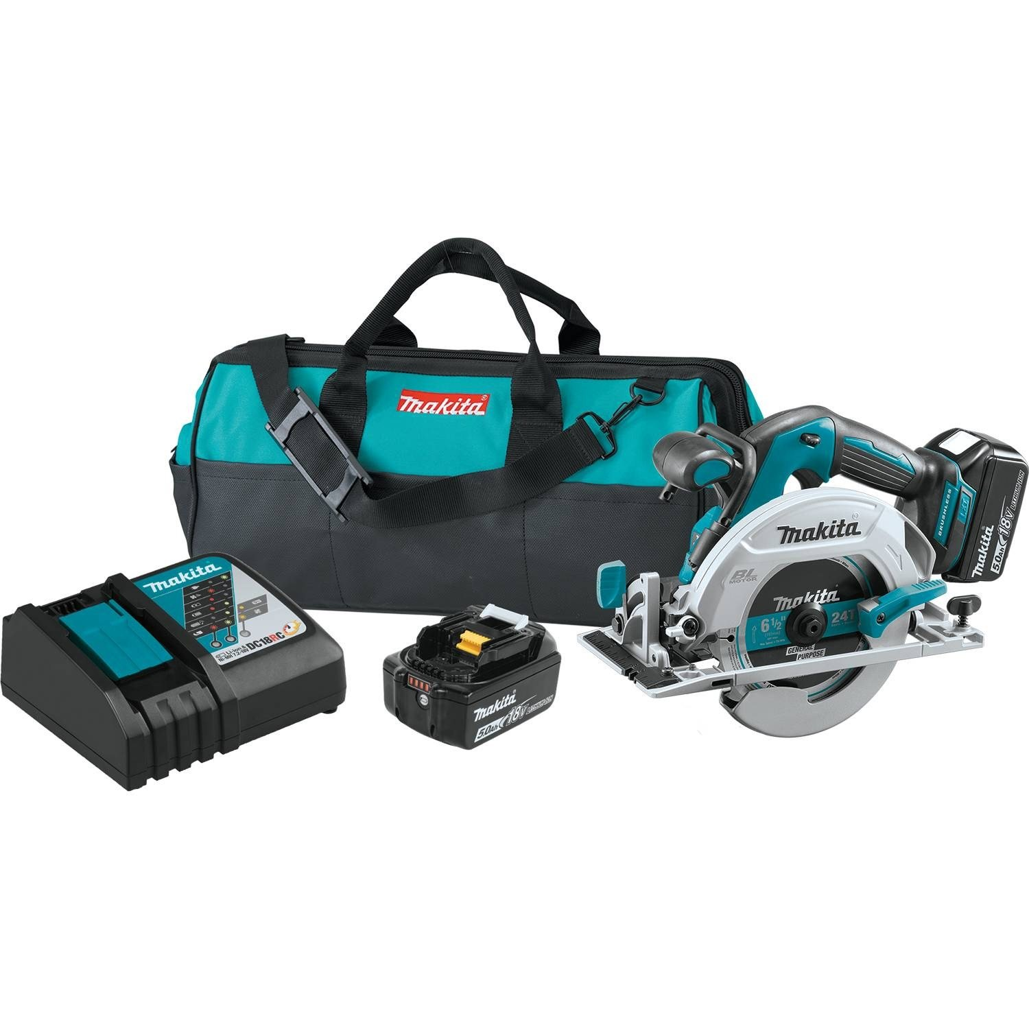 Makita XSH03T 18V LXT Lithium-Ion Brushless Cordless 6-1 2 Circular Saw Kit 5.0Ah