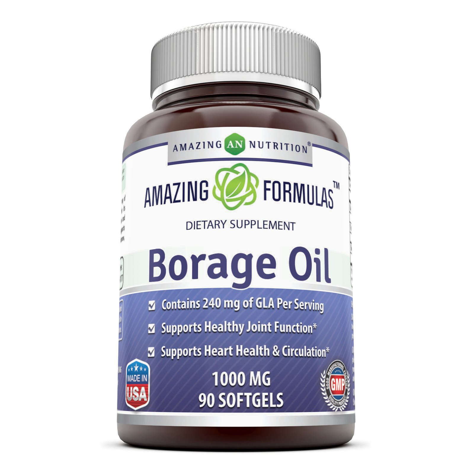 Amazing Formulas Borage Oil Dietary Supplement - 1000mg Capsules -90 SoftGels Per Bottle - 240mg Gamma Linoleic Acid (GLA) and 380mg Linoleic Acid -90 SoftGels Per Bottle