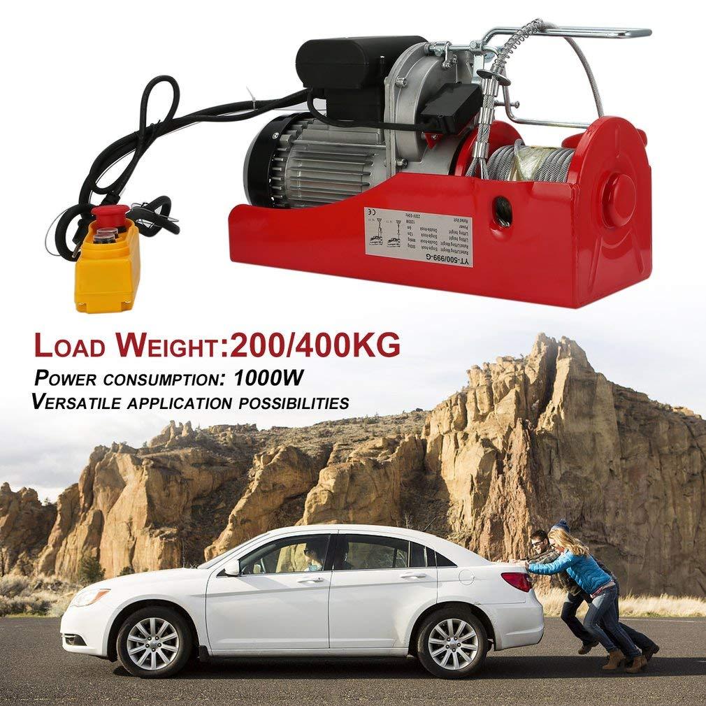Elektrische Seilwinde Motorwinde Hub Seilhebezug Seilzug 200//400KG Tragkraft 6//12m Hubh/öhe