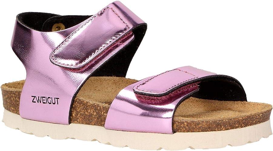 Zweigut® Hamburg luftig #502 Kinder Klett Sandale Mädchen Sommer Schuh mit weichem Leder Komfort Fußbett