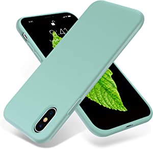 OTOFLY for iPhone X Case, [Silky and Soft Touch Series] Premium Soft Silicone Rubber Full-Body Protective Bumper Case Compatible with Apple iPhone X(ONLY) - MintCream
