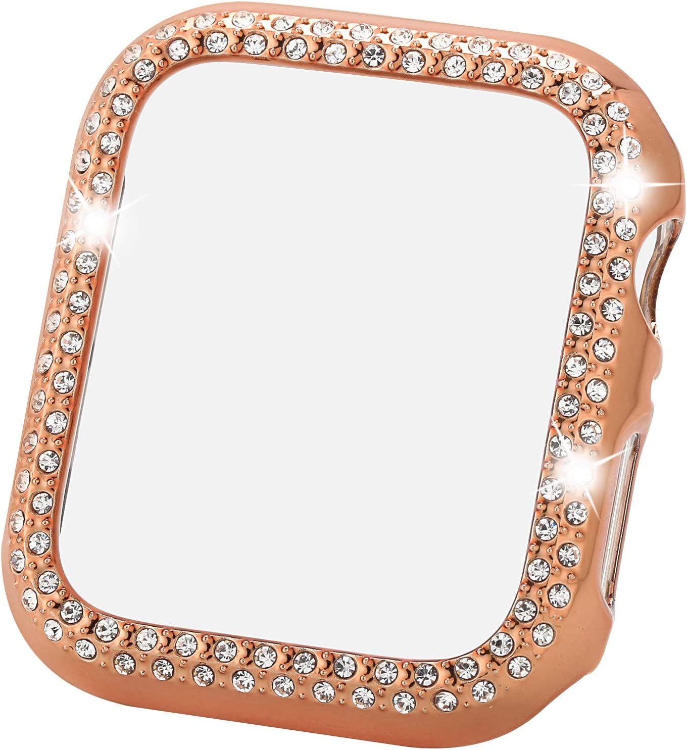 Greaciary Sparkle Compatible With Apple Watch 44mm Compatible With Iwatch Face Bling Crystal Diamond Plate Cover Protective Frame For Apple Watch 5 4 Women Double Rhinestone Rose Gold 44mm Amazon Co Uk Electronics
