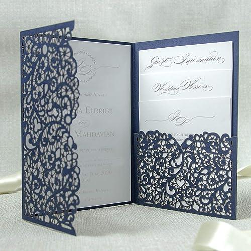 Partecipazioni Matrimonio In Pizzo.Partecipazione Matrimonio Fai Da Te A Tasca Blu Invito Da