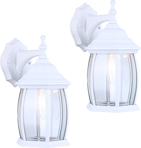 2 Pack of Exterior Outdoor Light Fixture Wall Lantern Sconce Clear Curved Beveled Glass, White Finish