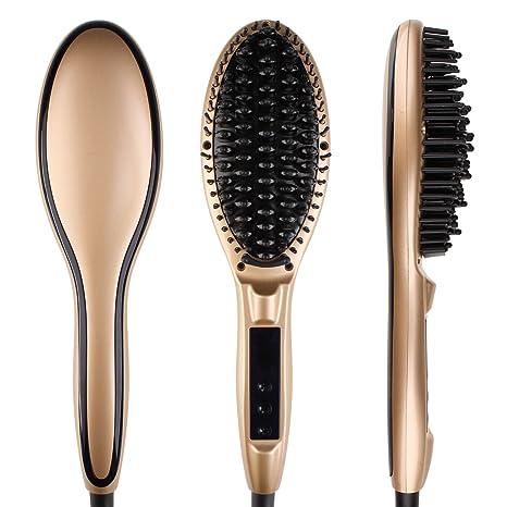 Cepillo de pelo eléctrico automático profesional para enderezar pelo, con pantalla LCD,DBTech,