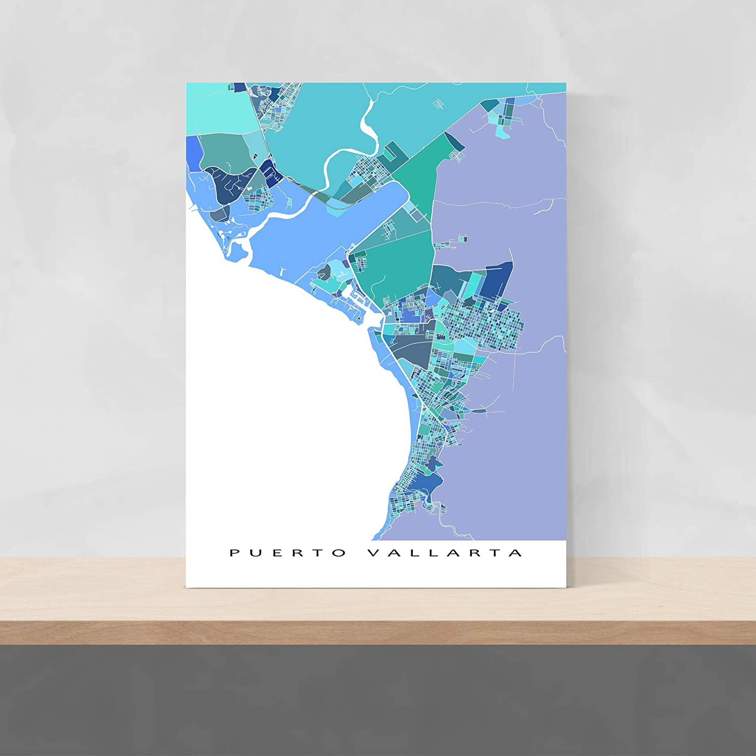 Puerto Vallarta World Map.Amazon Com Puerto Vallarta Map Art Print Mexico City Poster Handmade