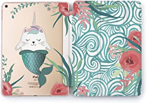 Wonder Wild Case Compatible with Apple iPad Pro 9.7 inch Mini 1 2 3 4 Air 2 10.5 12.9 11 10.2 Caticorn Cute 5th 6th Generation Mermaid Floral Colorful Blue Flowers Cover Kawaii Pastel Leaves Girls