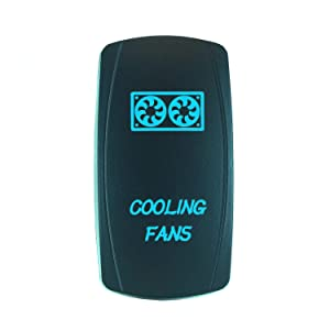 QUNQI STAR 5 pin Laser Backlit Rocker Switch COOLING FANS 20A 12V On/off LED Light Toggle Switch (Blue)