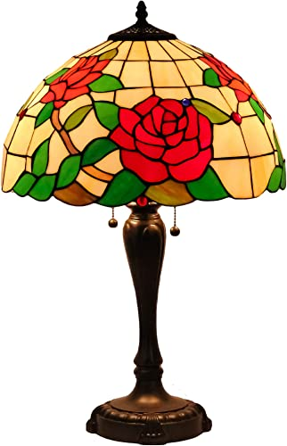 Mural Times Lighting Tiffany Table Lamp W16H25 Inch Elegant Red Rose Floral Stained Glass Light Shade Antique Bedside Table Reading Light