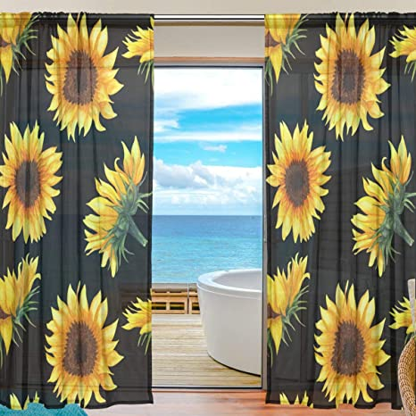 Amazon Com Sunflowers On Black Window Drapes Decorative Curtains Voile Sheer Curtain For Bedroom Living Room Or Divider Set Of 2 Panels Home Kitchen