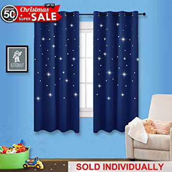 Navy Stars Kids Room Curtain   NICETOWN Space Inspired Night Sky Twinkle  Star Curtain  Creative. Amazon com  Navy Stars Kids Room Curtain   NICETOWN Space Inspired
