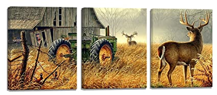 Deer Decor 3 Piece Canvas Wall Art Wildlife Hunting Country Themed Deer  Tractor Picture Print On