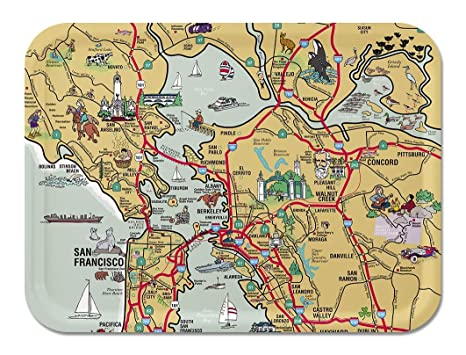 Amazon Com Trays4us San Francisco Illustrated Map Birch Wood