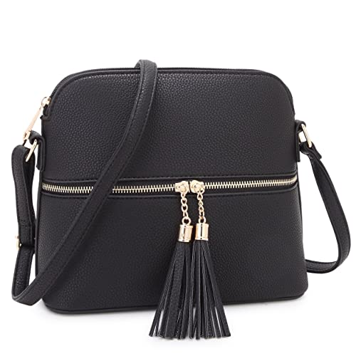 Medium Crossbody Bag with Tassel Zipper