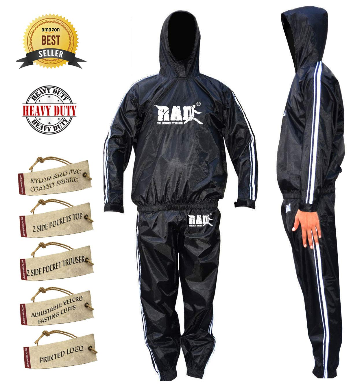 Rad Heavy Duty Sauna Suit Fitness Weight Loss Sweat Suit Anti Rip With Hood