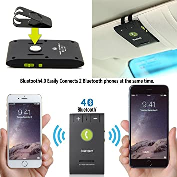 Wireless Bluetooth 4 0 Multipoint A2DP Sun Visor In-Car Hands-Free  Speakerphone with Clip for iPhone, Samsung, LG, HTC, Google Nexus, iPad &  Android