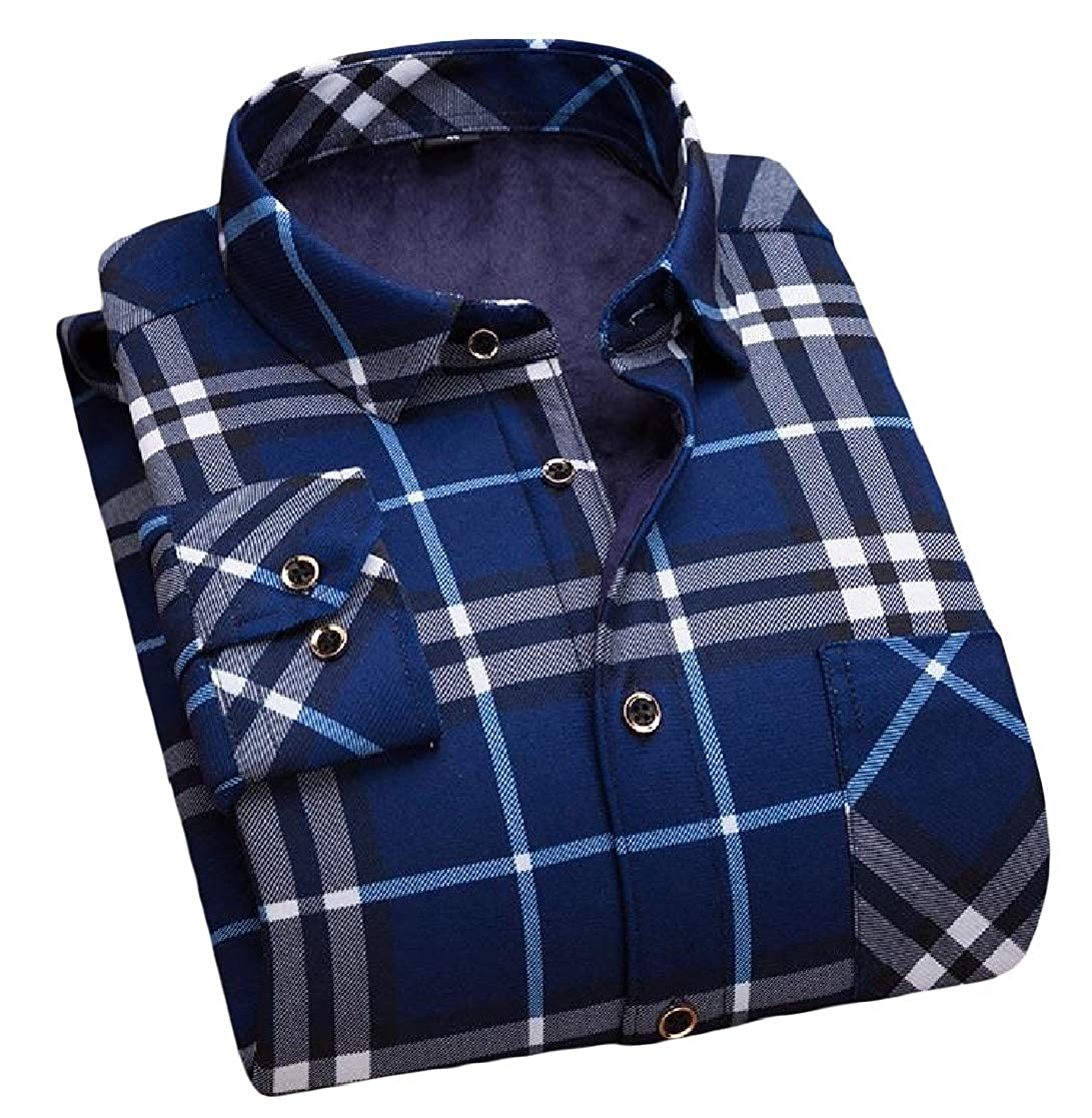 YUNY Mens Trim-Fit Keep Warm Long Sleeve Winter Plus Velvet Lapel Collar Shirt AS6 M