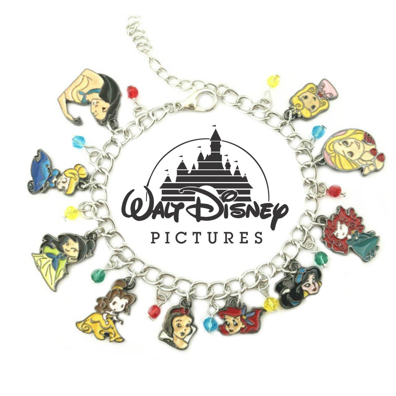 Disney Princesses Merida Pocahontas Mulan Movie Theme Multi Charms Jewelry Bracelets Charm by Family Brands