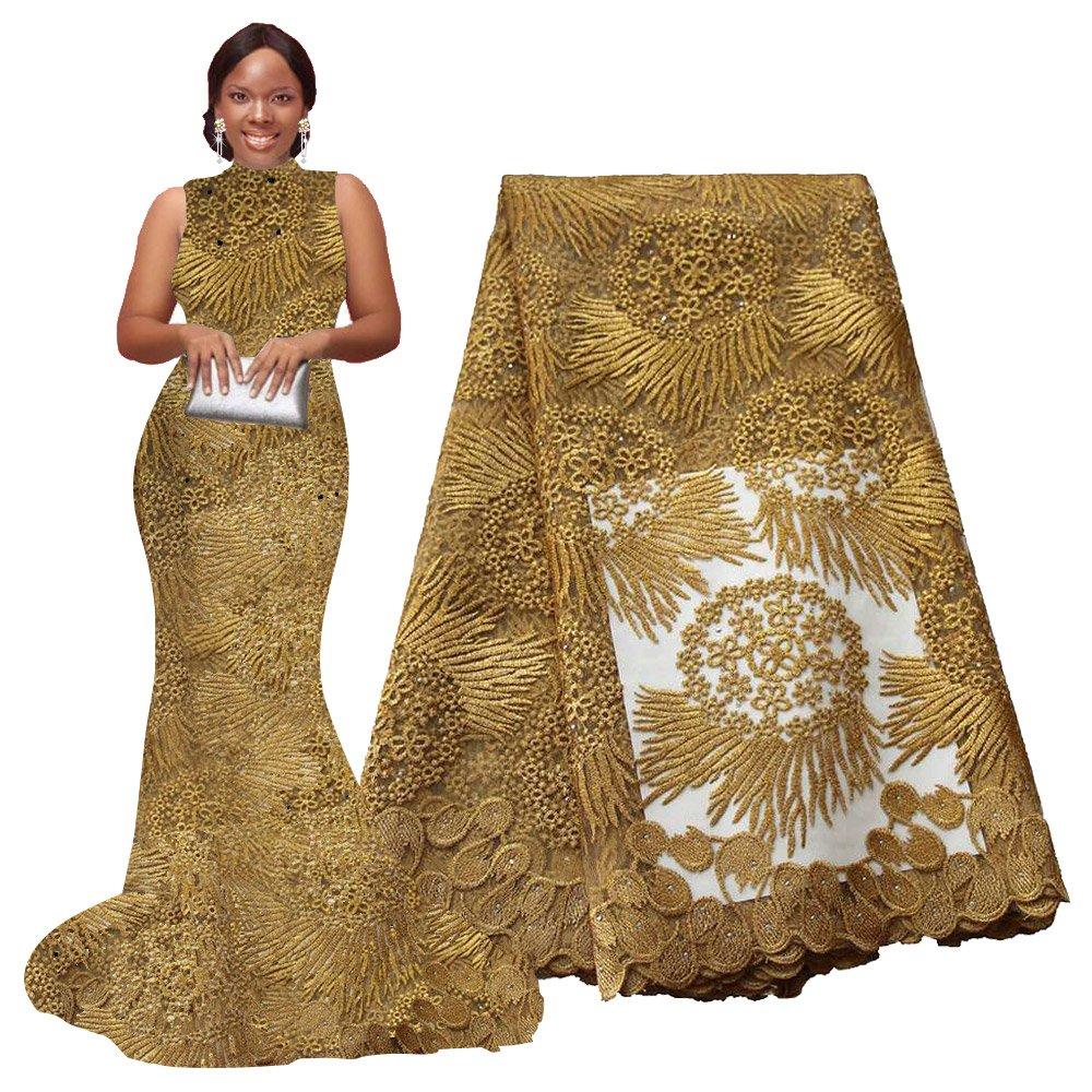 pqdaysun African Lace Fabric 5 Yards 2019 Nigerian Lace Wax Fabric French Lace Fabric F50614 (5 Yards, Gold) by PQDAYSUN