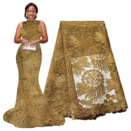 Pqdaysun African Lace Fabric 5 Yards 2019 Nigerian Lace Wax Fabric French Lace Fabric For Wedding Party F50614 5 Yards Gold