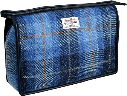 Vagabond Harris Tweed Blue Check Handled Bag Trousse de toilette, 26 cm, (Mid Blue)