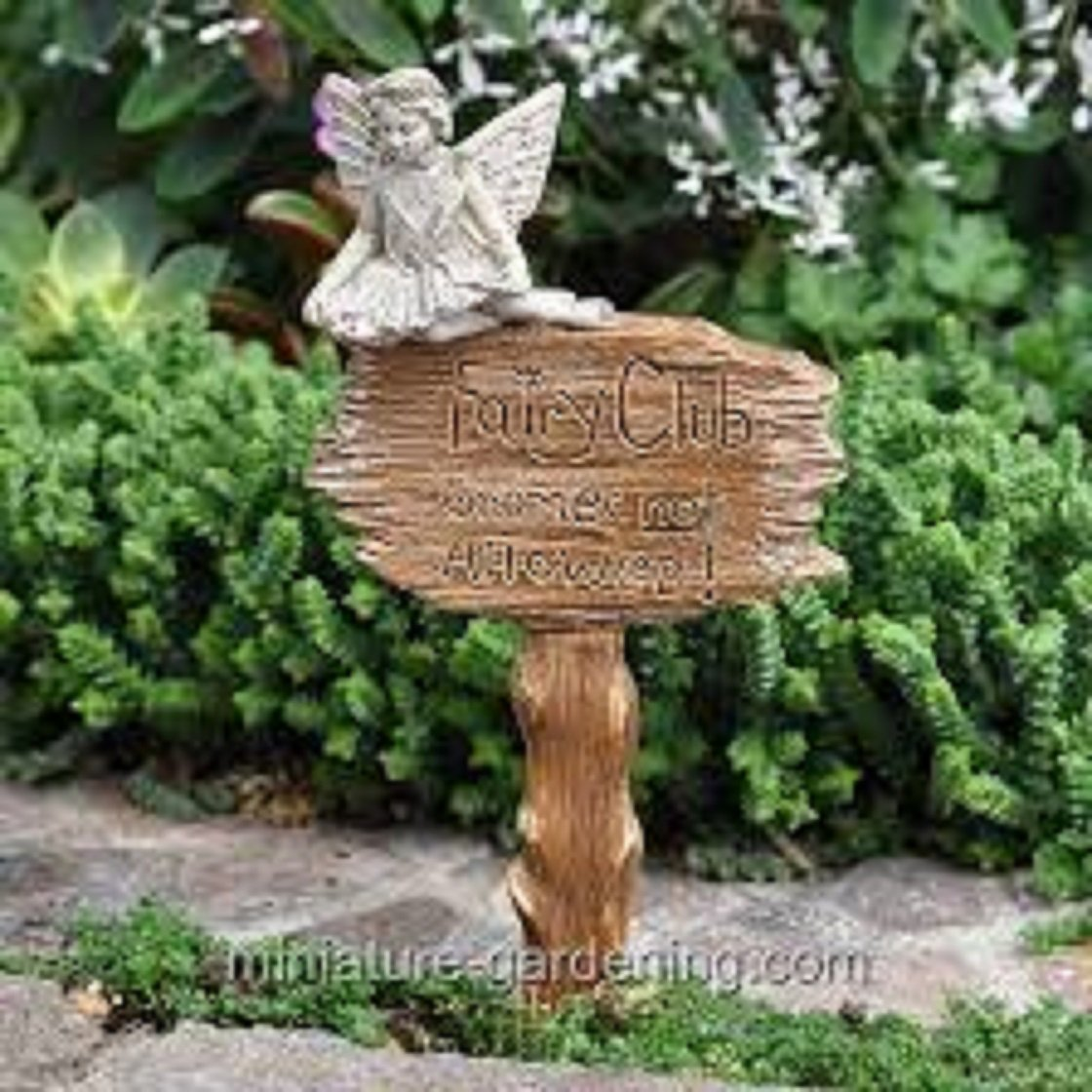 Amazon.com: Miniature Fairy Garden Club Sign Gnomes not Allowed ...