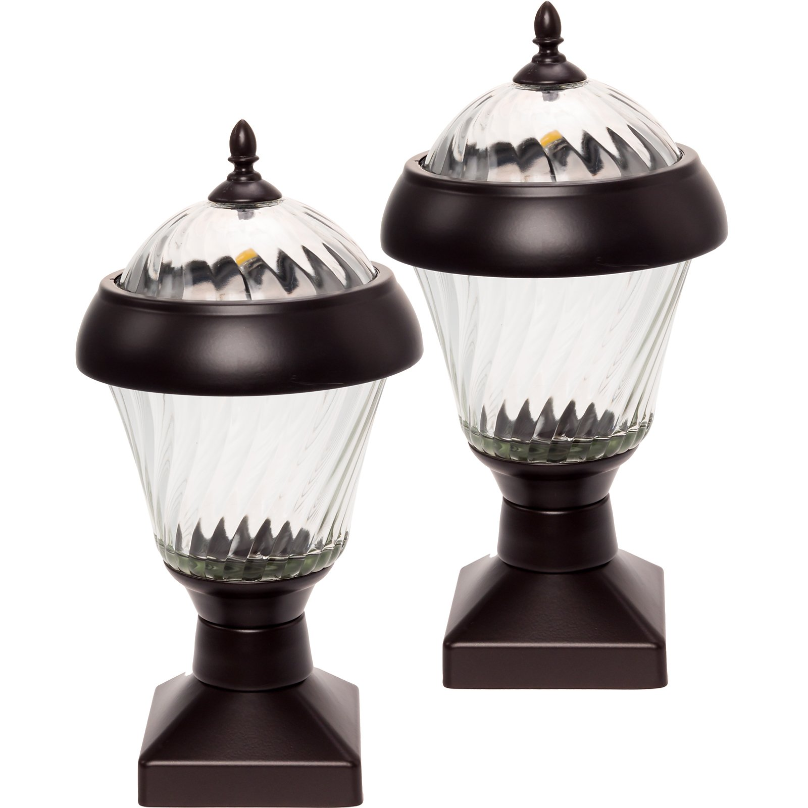 2 Pack GreenLighting Bahama 20 Lumen High End Solar Post Cap Lights for 4x4 Wood Posts (Remington Bronze)