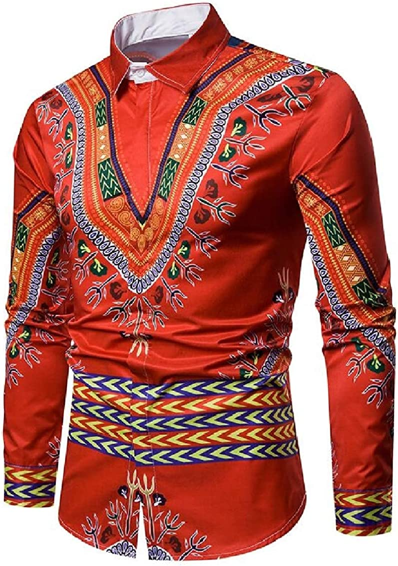 Fubotevic Mens Lapel Long Sleeve Printed Style Slim Button Down National Shirt