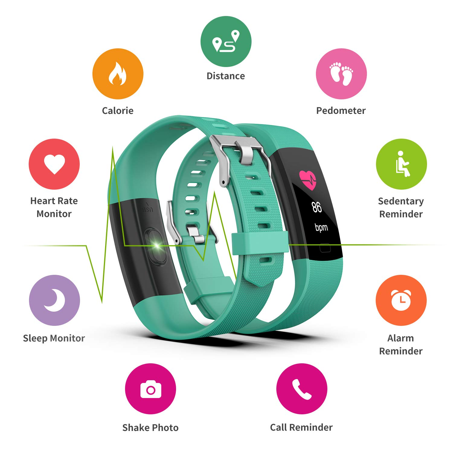 Fitness Tracker HR, Y1 Activity Tracker Watch with Heart Rate Monitor, Pedometer IP67 Waterproof Sleep Monitor Step Counter for Android & iPhone (Green) by Akuti (Image #2)