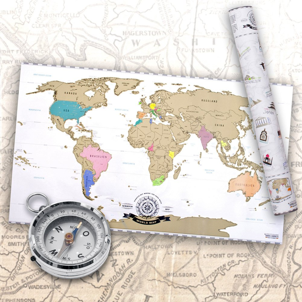 Amazon.de: Scrape Off World Map - Weltkarte zum Rubbeln - Rubbel ...