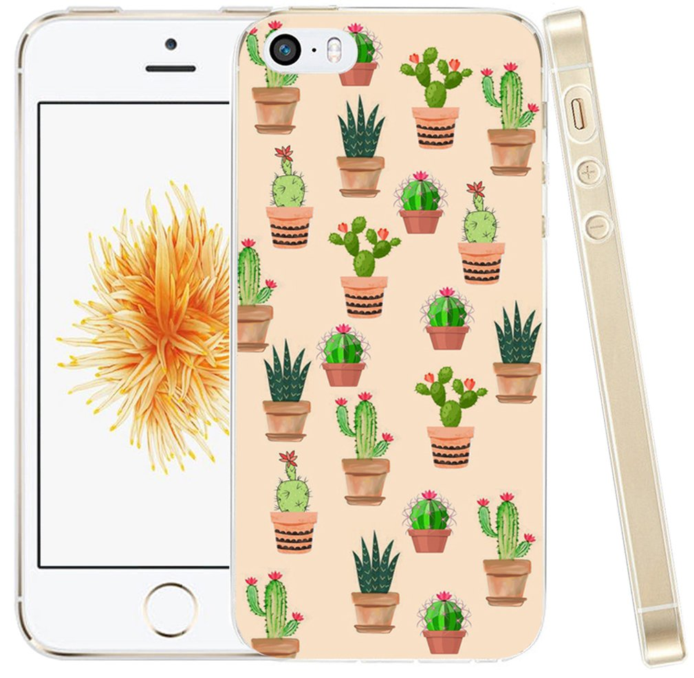 sale retailer 9fb5d 54f59 Case for iPhone SE Case Cactus,Case for iPhone 5S Cactus,Hungo Compatible  Soft TPU Silicone Protective Cover Case Replacement for iPhone 5/5S/SE ...