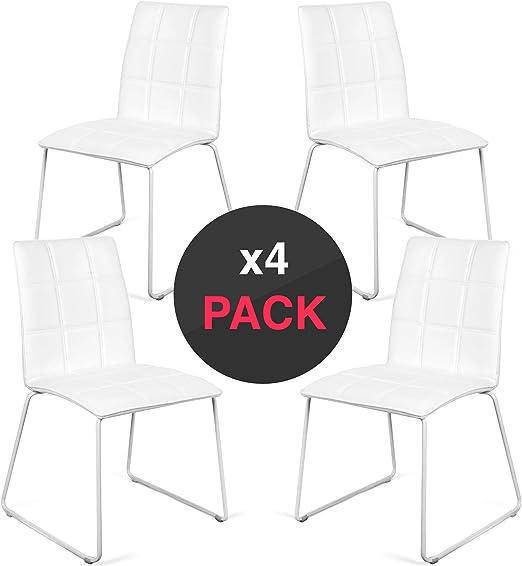 dicoro) Pack 4 Sillas de Comedor y Cocina Jazz, Base Metalica ...