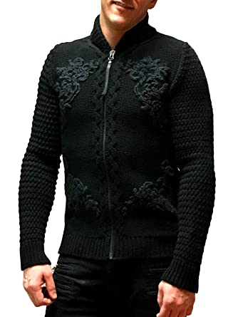 75398574de726 Amazon.com: Just Cavalli Zip Up Knit Sweater, Black (Large): Clothing