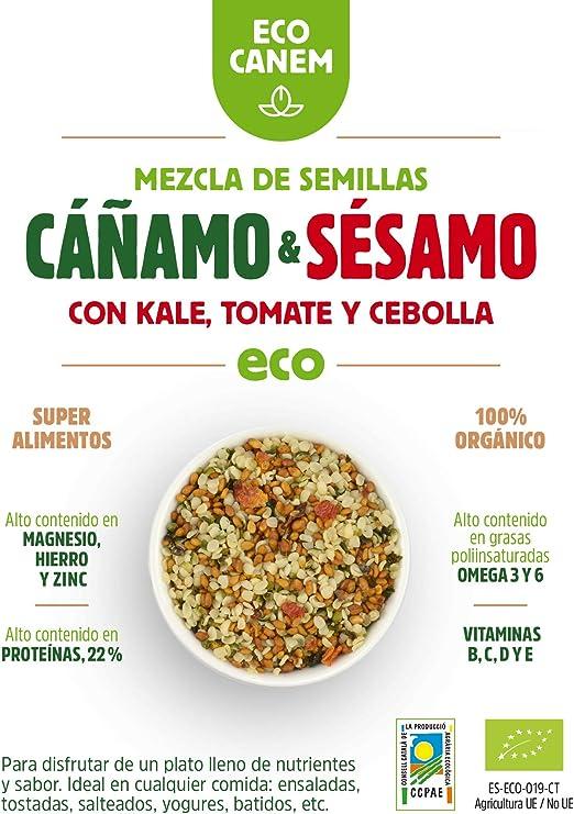 Semillas de cáñamo & sésamo con Kale, cebolla y tomate BIO. 100 ...