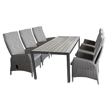 Gartengarnitur Aluminium Gartentisch Polywood Tischplatte 205x90cm + 6x Gartensessel  Polyrattan Grau Meliert