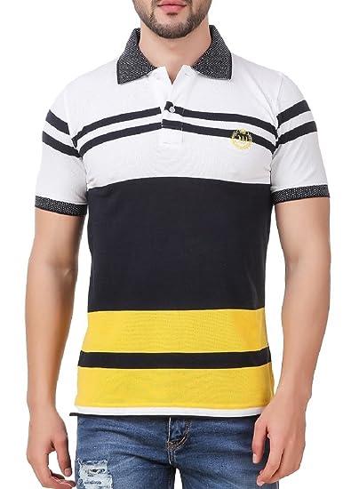 8f69f6a61 men in class Men's Cotton Multicolour Striped Polo 6013_White_Medium ...