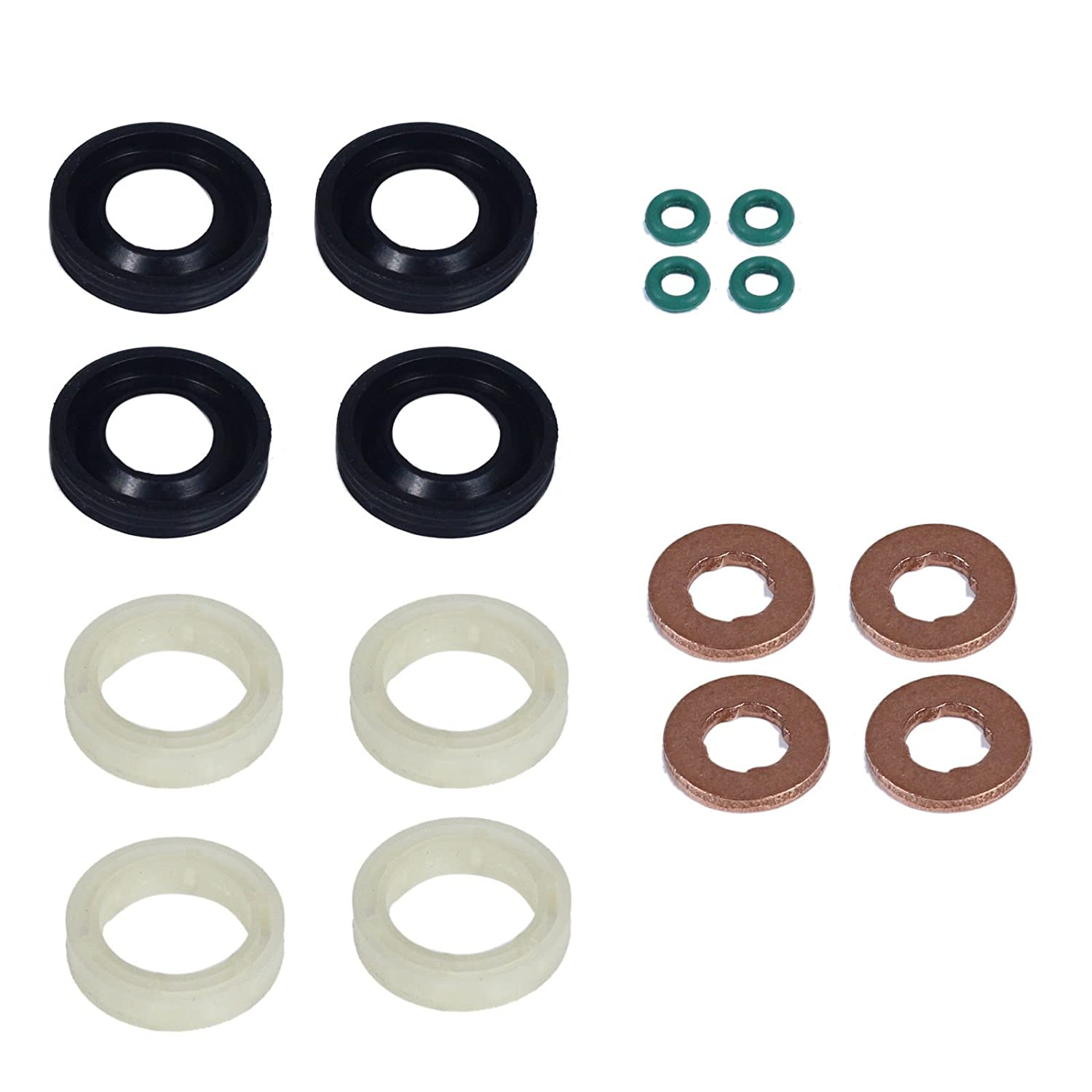 Fuel Injector Seal Washer O-Ring Protector Set 3M5Q9F593KIT/1432205/1314368/1233683/198185/1982A0/198299/1609848080/1609848280 ATY