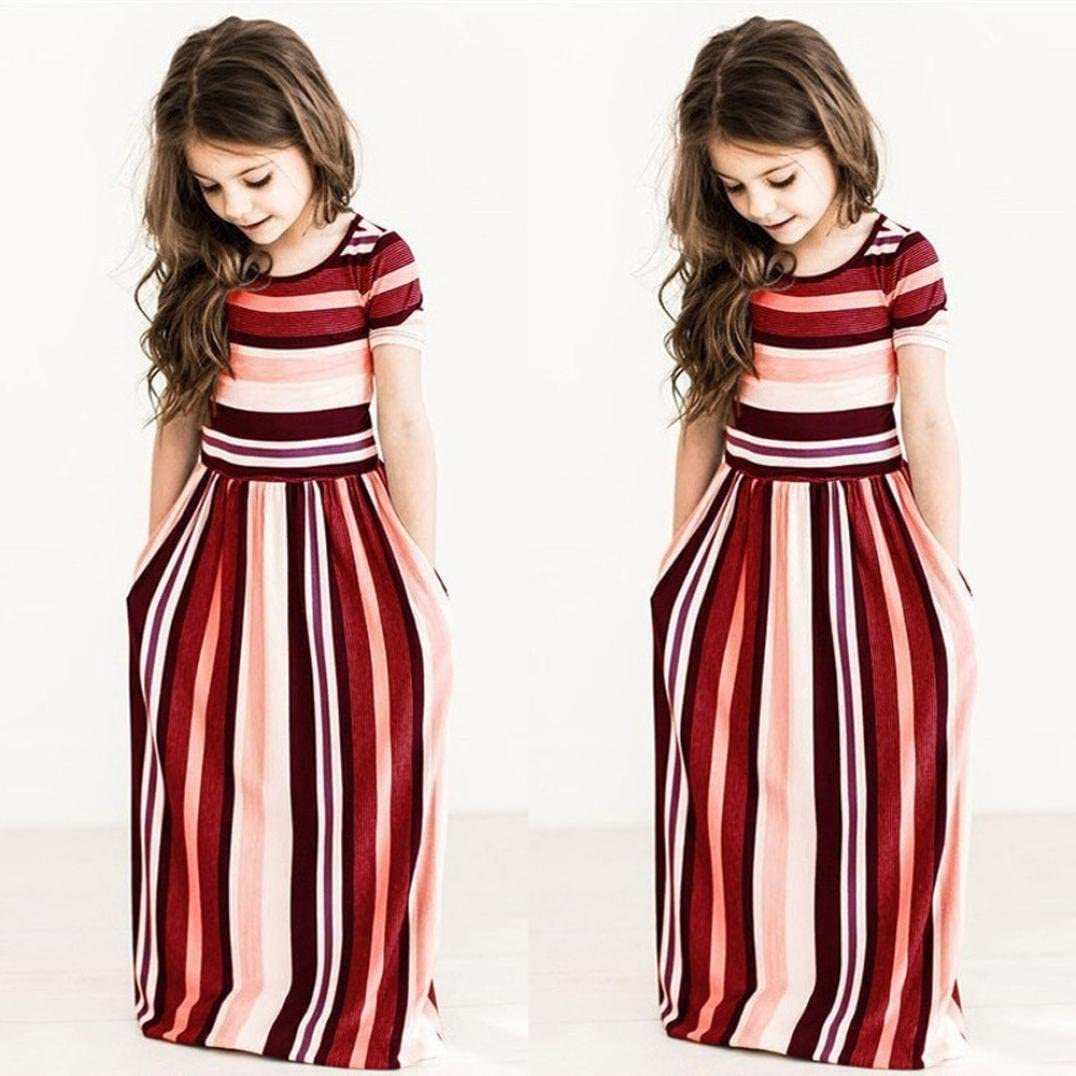 Girls Dresses for 2-8 Years,Internet Toddler Baby Girls Striped Long Dress Kids Party Beachwear Dresses Outfits Girls Party Dresses