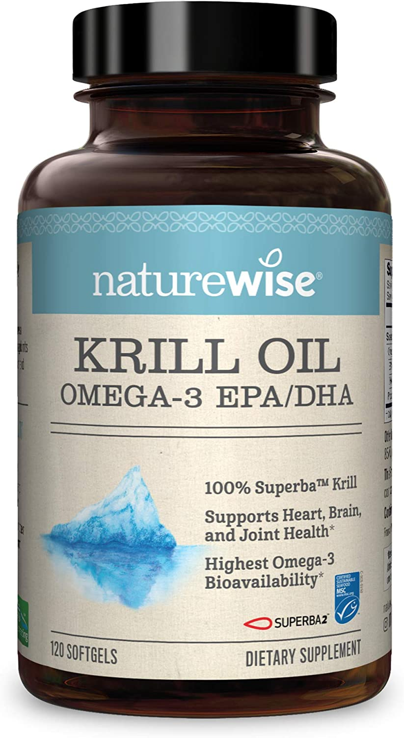 NatureWise Wild-Caught Krill Oil (2 Month Supply) Heart Health and Mobility Support with EPA & DHA Omega-3s and Astaxanthin for Organ Vitality and Joint Flexibility (120 Count – 2 Month Supply)