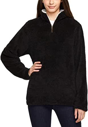 TSLA Women's Long Sleeve Sherpa Pullover, Quarter Zip Fuzzy Fleece Sweatshirts, Warm Soft Fluffy Fleece Winter Tops