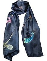 Pañuelo de 100% Seda Pintado a Mano - Libélula con Varios Colores de Fondo