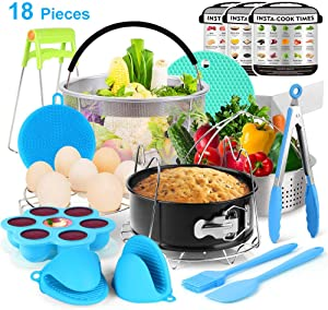 V VONTOX Instant Pot Accessories Set 18Pcs, Pressure Cooker Accessories Compatible with 5/6/8 Qt, 304 Stainless Steel, Non-Stick Pan, Steamer Basket, Egg Rack, Silicone Mold Gloves etc,Cooking seafood
