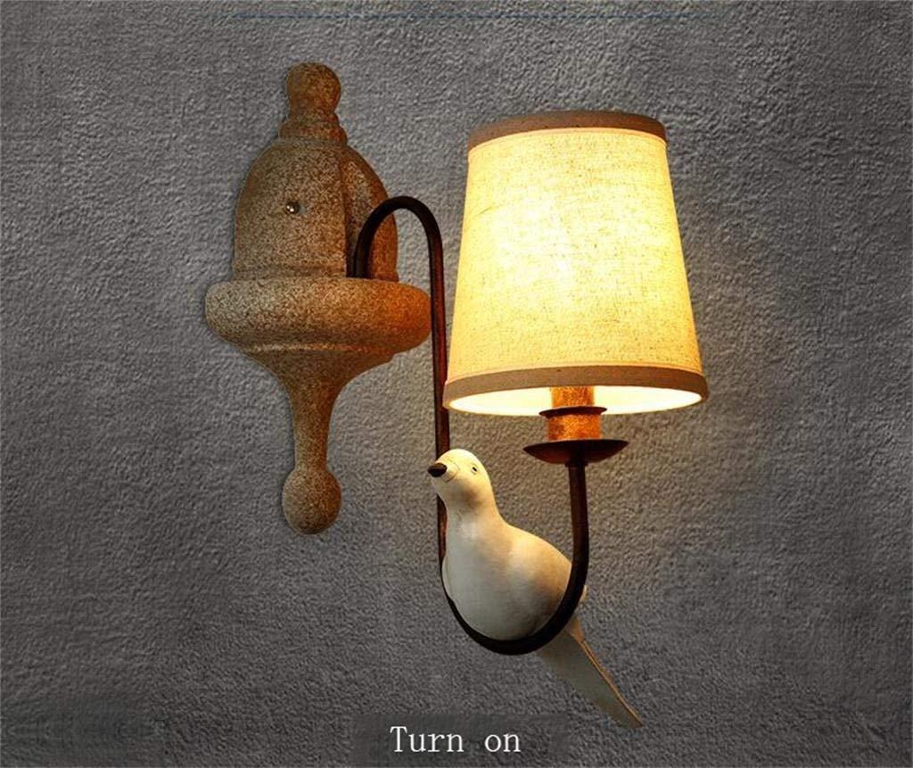 FJTXC Exquisite Economy Energy Lampe Verstellbare Wand - Nachttischlampe Retro Creative Classical Komfortable Lobby im Europäischen Stil Dauerlicht Vögel Balkonwand (ohne Lichtquelle) (Form  Doppel