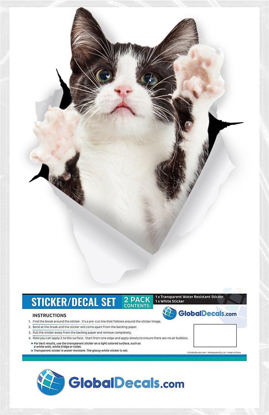 Winston & Bear Pegatinas de Gato 3D - Paquete con 2- Vinilos al por menor de gato bicolor blanco y negro para la pared - refrigerador - tocador - cuarto ...