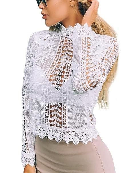 Simplee ropa de manga larga de las mujeres top blanco de crochet encaje floral blusa camisa