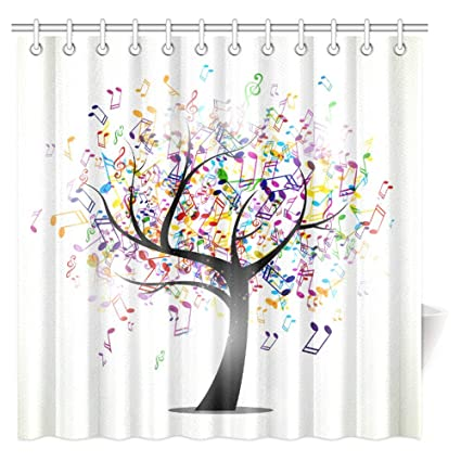 interestprint music shower curtain tree of life with musical notes branch happy jolly celebrating fabric - Musical Shower Curtains