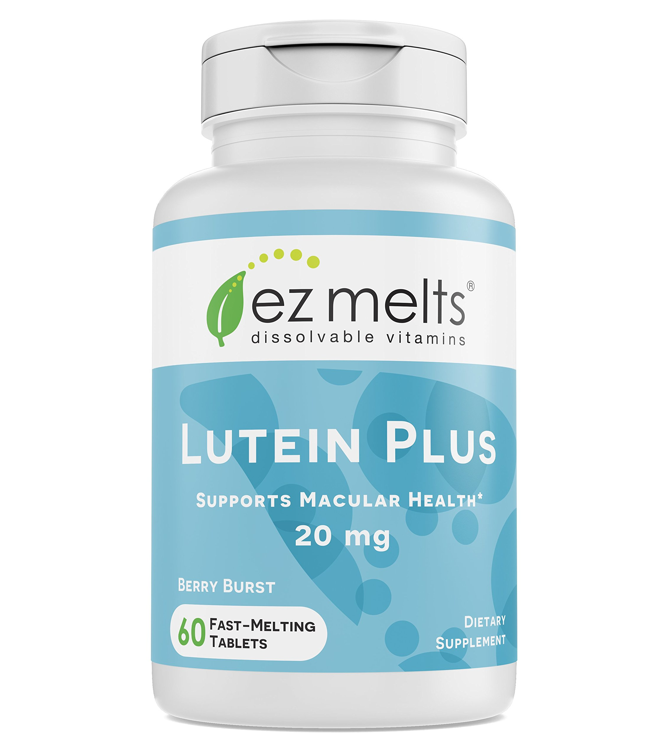 EZ Melts Lutein Plus with Zeaxanthin and Zinc, 20 mg, Sublingual Vitamins, Vegan, Zero Sugar, Natural Berry Flavor, 60 Fast Dissolve Tablets by EZ Melts